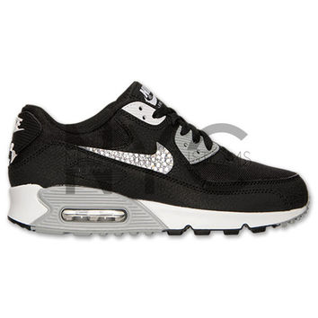 Black White Nike Air Max 90 Swarovski Crystal Accent Bling Blinged Out 73fb40a66