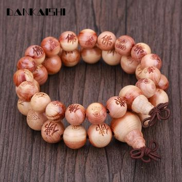 Dankaishi Cypress Wood Beads Bracelets Sculpture Buddha Statue Strand Barcelets Women Men Buddhist Buddhism Believers DKSFZ010