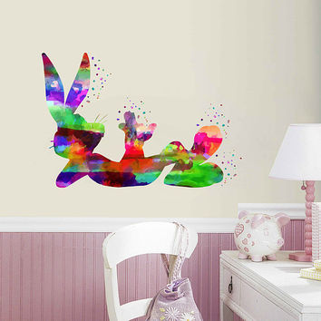 kcik2015 Full Color Wall decal Watercolor Character Disney Sticker Disney children's room Bugs Bunny rabbit