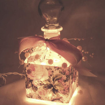Pink Roses Perfume Bottle Nightlight ( Night Light )