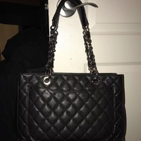 Authentic Chanel Black Caviar GST Shopping Tote Bag SHW