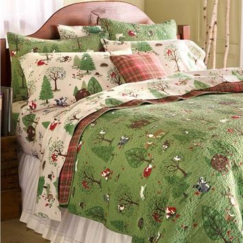 King Woodland Friends Cotton Quilt Set