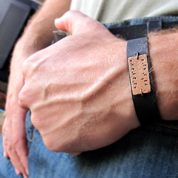 Leather Name Bracelet for Men / Personalized Nameplate Cuff / Custom Wristband /  Groom Groomsmen Gift