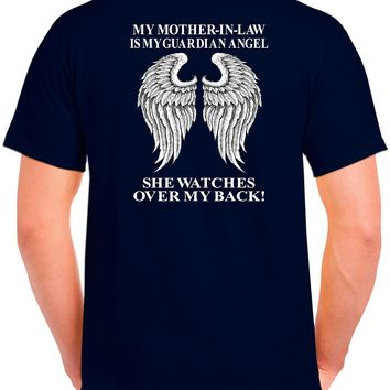 My Mother In Law Is My Guardian Angel She Watches Over My Back! Basic Tee