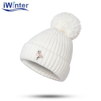IWINTER 2017 New Winter Hat For Woman Flamingo Pattern Skullies Beanies Pom Pom Hat Fur Ball Cap Knitted Cap Thick Woman's Hats