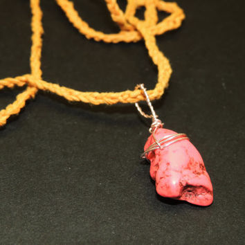 Dyed Pink Howlite Crocheted Hemp Necklace