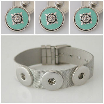 Snap button Noosa style stainless steel bracelet plus 3 premium Tiffany Blue snaps. Fit Ginger snap & other snap charms. Sale!