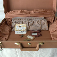 VIntage Brown Suitcase, Vintage Taperlite Suitcase with Keys, Luggage Tags and Original Sales Tag