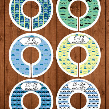 Premade Dividers, Baby Closet Dividers, Baby Shower Gifts, Nursery Dividers, Newborn Baby Gift, Closet Dividers, Mustaches, CD60