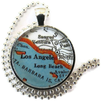 Los Angeles map necklace pendant charm, Los Angeles Jewelry, Long Beach