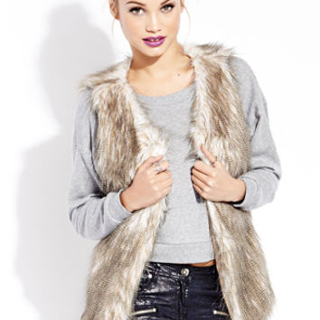 FOREVER 21 Vintage-Inspired Furry Vest Cream/Taupe