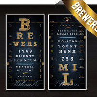 Milwaukee Brewers - Double-Play Combo - MIDNIGHT BLUE - Perfect Gift for Valentines, Birthday and Anniversary - Unframed Prints