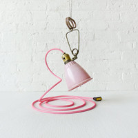 Pretty in Pink - Vintage Bell Clip Light - Hanging Clamp Lamp - Bright Pink Color Cord - Antique Pale Retro Shade - Tungsten Filament Bulb