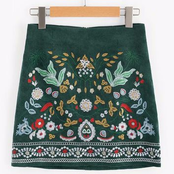Corduroy Botanical Embroidered Skirt