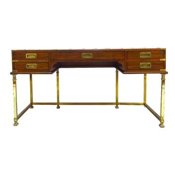 Pre-owned Leather Top Campaign Desk With Brass Base