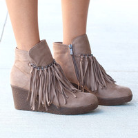 Candy Fringe Front Suede Wedge Bootie {Taupe}