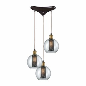 Bremington 3 Light Triangle Pan Pendant In Tarnished Brass/Oil Rubbed Bronze With Clear Glass And Perforated Metal Cage