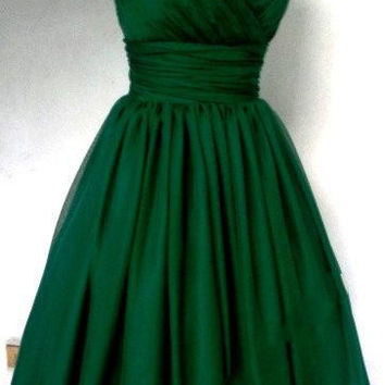 DAC3024 Emerald Green  Cocktail Dress Vintage Tea Length Plus Size Chiffon Overlay Elegant Cocktail Dress