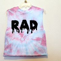 blue pink RAD muscle tank Small