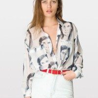 Illustrated Chiffon Oversized Button-Up | Long Sleeves | Women's Collared Shirts | American Apparel