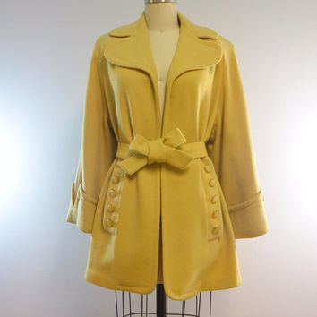 Vintage Mustard Yellow Mod Wool Coat by Jennifer Jr. Size 7