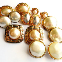 Faux Pearl Earring Lot Vintage Clip On Instant Collection Signed Monet Gold Silver Tone Screw Back Japan Costume