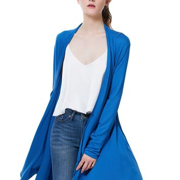 LE3NO Womens Lightweight Draped Long Sleeve Open Cardigan with Pockets