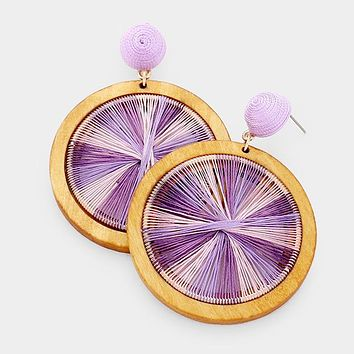 Cut Out Round Wood Thread Ball Earrings