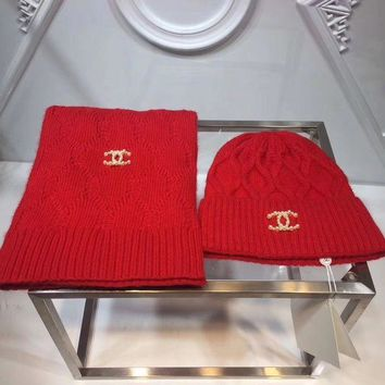 CHANEL Fashion Casual Women Beanies Winter Knit Hat Cap Cape Scarf Scarves Set Two-Piece Red G