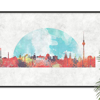 Berlin Art Germany Skyline Art Watercolor Print Berlin City in Watercolors Berlin poster Bahn Tower Map art Decor abstract skyline wall art