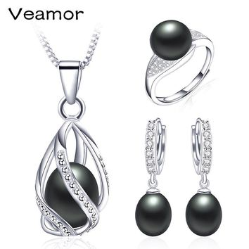 Pearl Jewelry Sets 100% Natural Freshwater 925 Sterling Silver Jewelry Pearl Necklace Earrings Pendant Rings For Women Gift