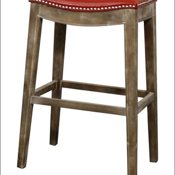 Elmo Bonded Leather Bar Stool Mystique Gray Frame, Red