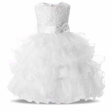Gorgeous White Children Flower Girl Dresses for Weddings 2017 Lace Ball Gown Girls Pageant Prom Kid Dress Infantis Princess Wear