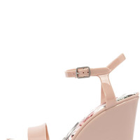 Candy Store Nude Jelly Wedge Sandals
