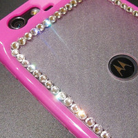 SWAROVSKI ELEMENTS Crystals Motorola Droid Razr MAXX Bling Hard Soft Case Hot Pink Cover