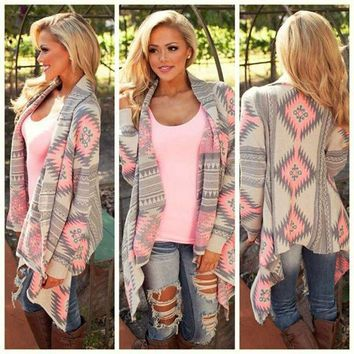 DCCK7XP Women New Fashion Aztec Printed Long Sleeved Casual All-Match Cardigans