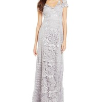 Adrianna Papell Lace Panel Gown   Dillards