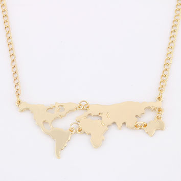 New Fashion Gold Color World Map Pendant Necklace For Women Jewelry -0330