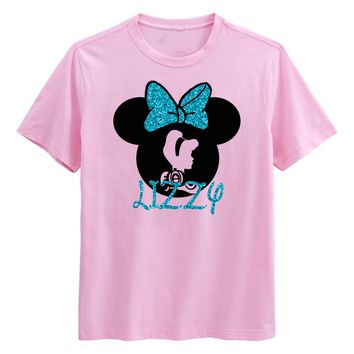 Princess Cinderella Minnie Mouse GLITTER colors Personalized T-shirt with Name - Birthday shirt, Party shirt, Disney trip Carriage