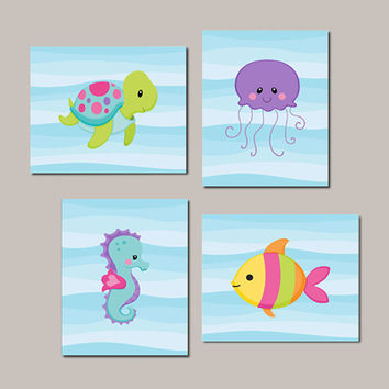 Girl Nursery WALL ART Sea Life Sea Animals Under The Sea Nursery Decor Sea Animals Bathroom Decor Nautical Art Set of 4 Prints Or Canvas