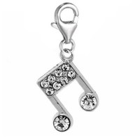 Musical Note Charm for European Clip on Jewelry w/ Lobster Clasp