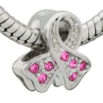 Pink Ribbon Breast Cancer Awareness Bead Charm- Pandora Charms Beads Compatible