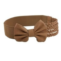 Camel Color Bowknot Decor Braided Faux Leather Elastic Cinch Belt for Women