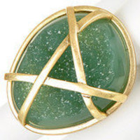 Latticed Green Stone Fashion Ring ? Modeets