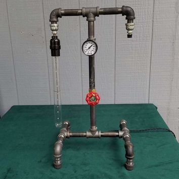 Black Pipe & Pressure Gauge Steampunk Lamp