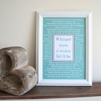 Personalised Lyrics Quote Print