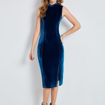 Chicloth Velvet Stand Collar Sleeveless Women's Bodycon Dress