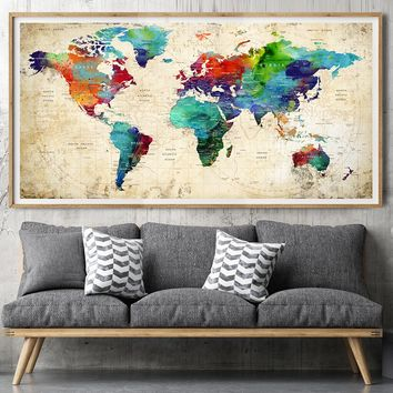 Large wall art, world map print, poster, Detailed world map, watercolour travel map, travel gift, office decor, home decor, WallArtPrints -L137