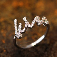 kiss Letter Crystal Ring Infinite Love Ring Proposal Ring Jewelry Silver Plated Gift Idea