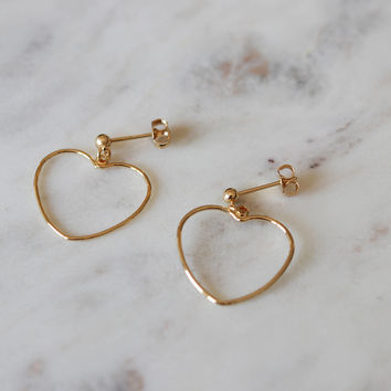Heart Stud Earrings - Gold Dangle Earrings - Heart Hoop Earrings - Heart Jewelry - Gold Earrings - Minimalist Jewelry - Gift for Woman
